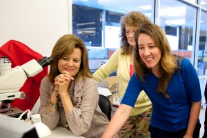 Tami Caraballo, left, worked with ISB's Claudia Ludwig, right, and Jennifer Duncan-Taylor, rear, on a systems education project. Tami is Project Feed 1010's May Spotlight Teacher.