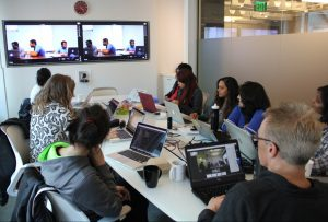 Students in Boston and Seattle collaborate via Skype, Google Hangouts, and other communication platforms.