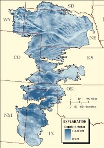 Ogallala Aquifer, via USGS. The star indicates approximate location of Lubbock, TX.